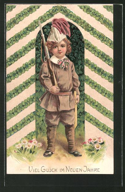 AK Junge als Soldat verkleidet, Viel Glück im Neuen Jahre, Kinder Kriegspropaganda