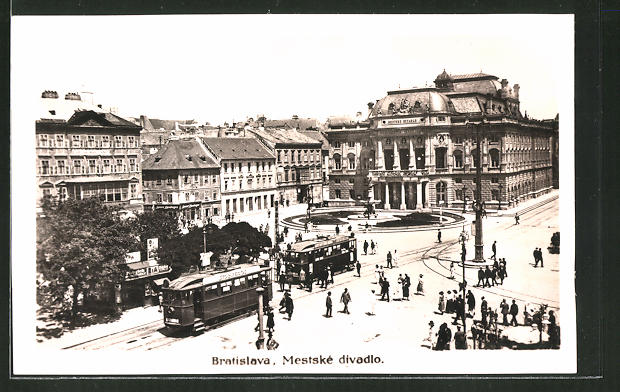 AK Bratislava, Mestske divadlo, Strassenbahn