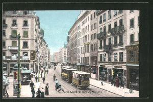 AK Genéve, Rue du Marche mit Strassenbahn