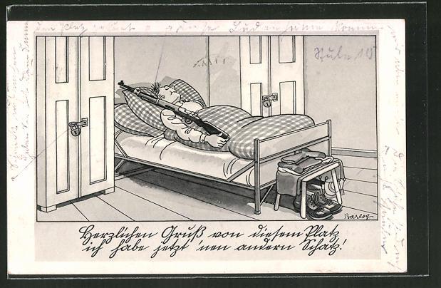 Künstler-AK Ferdinand Barlog: Soldat schläft mit Gewehr an seiner Seite
