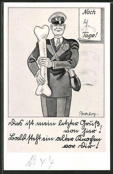 Künstler-AK Ferdinand Barlog: Soldat mit einem grossen Knochen