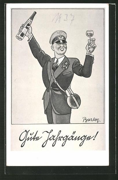 Künstler-AK Ferdinand Barlog: fröhlicher Soldat mit einem Glas Wein