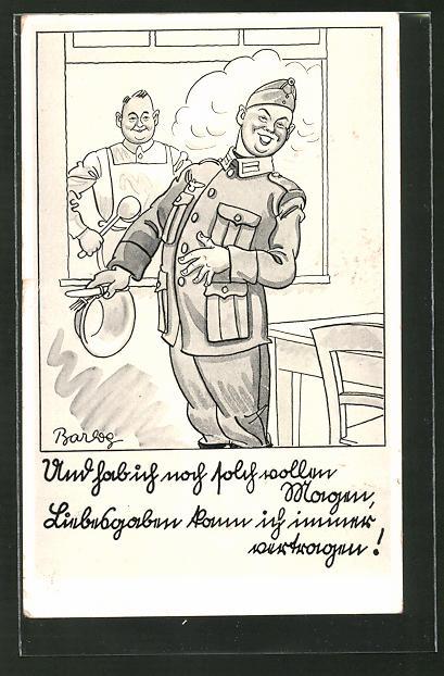 Künstler-AK Ferdinand Barlog: Soldat in der Kantine