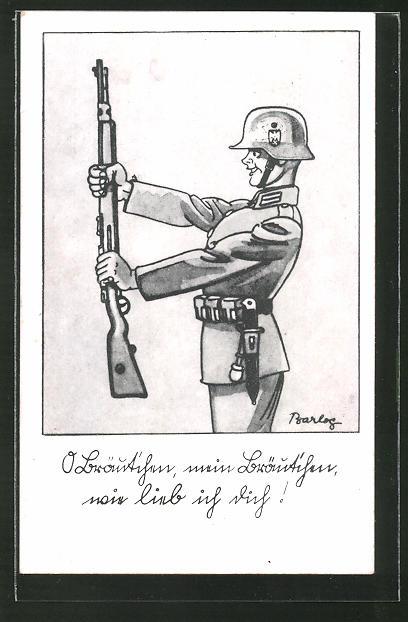 Künstler-AK Ferdinand Barlog: Soldat in Uniform mit Gewehr