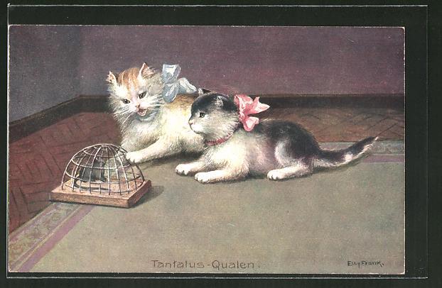 Künstler-AK niedliche Katzen spielen mit gefangener Maus