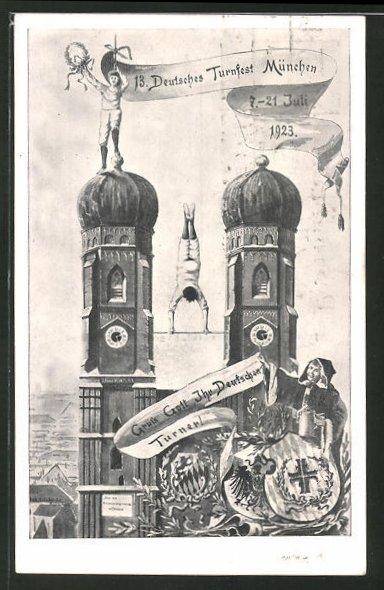 AK Ganzsache PP72C1: München, 13. Deutsches Turnfest 1923, Frauenkirche