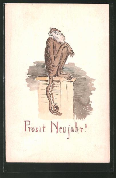 Künstler-AK Handgemalt: Prosit Neujahr!, Affe sitzt auf einem Pult