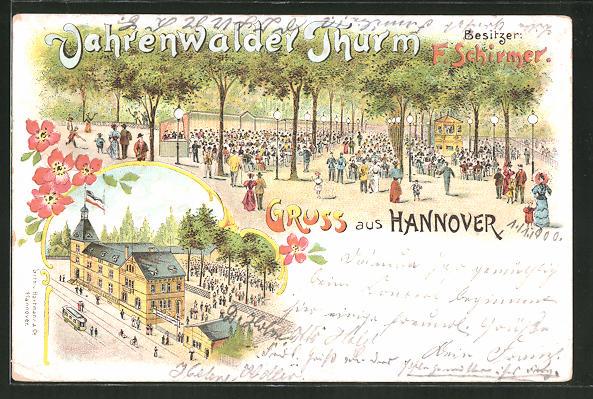 Lithographie Hannover, Gasthaus Vahrenwalder Turm von F. Schirmer