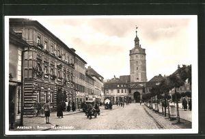 AK Ansbach, geschäftiges Treiben in der Maximilianstrasse