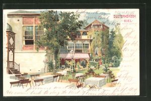 Lithographie Kiel-Düsternbrook, Hotel Düsternbrook von Peter Schmidt