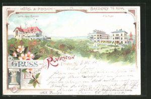 Lithographie Bredeney a. d. R., Blick zum Gasthaus Ruhrstein & Villa Hügel