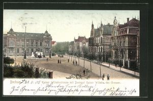AK Bochum, Kaiser-Wilhelm-Strasse mit Denkmal Kaiser Wilhelm des Grossen