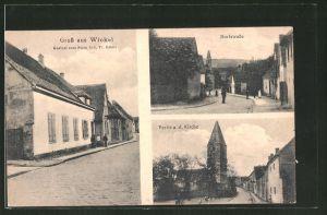 AK Winkel, Gasthof zum Stern, Dorfstrasse, Kirche