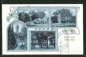 AK Collenbey, Gasthaus zu Collenbey, Bes. Otto Sinang, Garten m. Kolonnade, Kirche, Herrenhaus