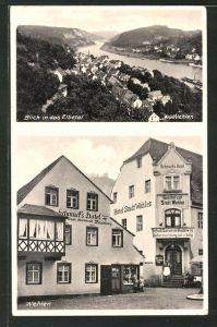 AK Wehlen / Sächs. Schweiz, Schmuck's Hotel und Gasthof zur Stadt Wehlen, Blick in das Elbetal