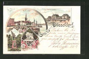 Lithographie Düsseldorf, Rhein-Werft, Central-Bahnhof, Denkmal der 39er, Krieger-Denkmal