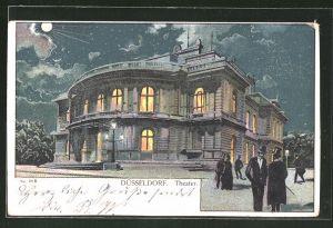 Lithographie Düsseldorf, Männer am Theater im Mondschein