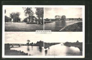 AK Alt-Schadow a. d. Spree, Kriegerdenkmal, Brücke über die Spree