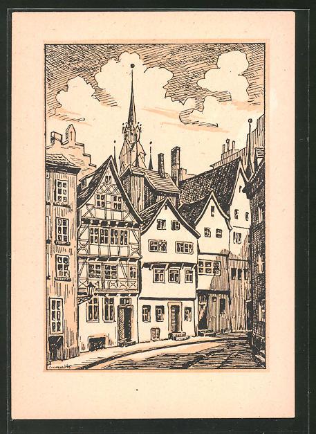Künstler-AK Halle / Saale, Strassenpartie in Alt-Halle (Trödel)