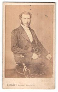 Fotografie G. Prevot, Paris, Portrait bürgerlicher Herr mit Backenbart