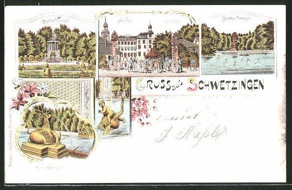 Lithographie Schwetzingen, Apollo Tempel, Merkur-Tempel, Hirschbassin