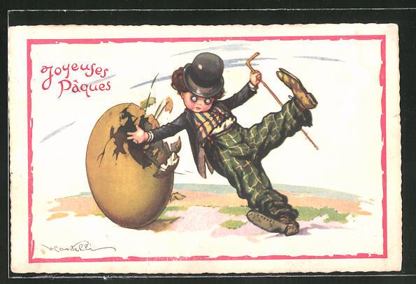 Künstler-AK Castelli: Ostergruss mit kleinem Tramp nach Art des Schauspielers Charlie Chaplin