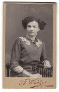 Fotografie G. Wahl, Schorndorf, Portrait Fräulein mit Hochsteckfrisur