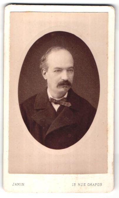 Fotografie Jamin, Paris, Portrait Herr mit Schnauzbart