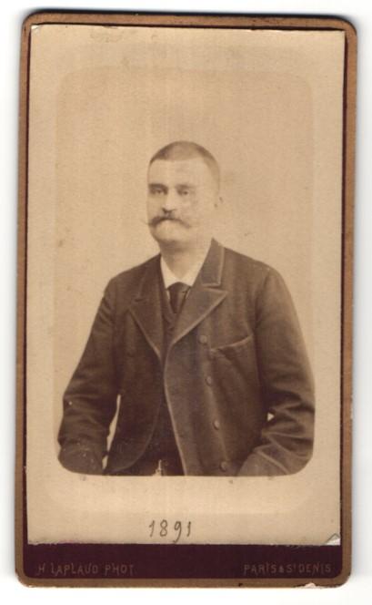 Fotografie H. Laplaud, Paris, St. Denis, Portrait Herr mit Schnauzbart
