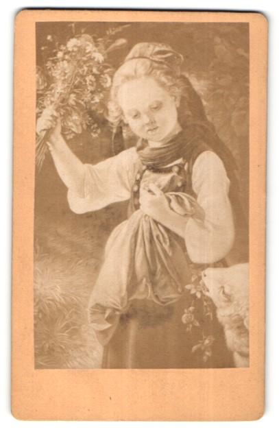Fotografie Gemälde von J. Becker, Hans und Gretchen