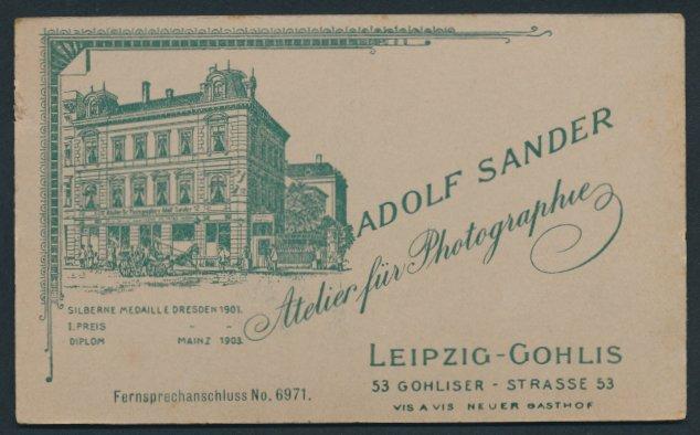 Fotografie Adolf Sander, Leipzig-Gohlis, Ansicht Leipzig-Gohlis, Atelier & Geschäftshaus in der Gohliser Strasse 53