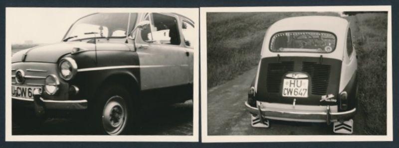 2 Fotografien Auto NSU Fiat 600 Jagst, PKW auf einem Feldweg