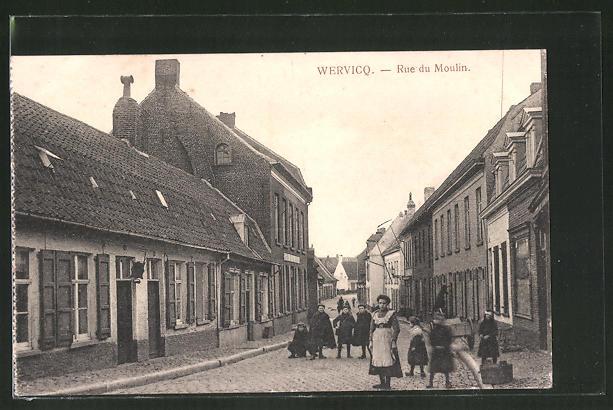 AK Wervicq, Rue du Moulin mit spielenden Kindern