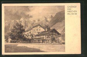 Künstler-AK Zell a. See, Am Gasthof zum Hirschen v. R. & J. Leeb in der Strasse am Postplatz
