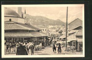 AK Sarajewo, Bascarsija, Strassenleben am Markt