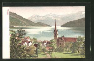 Lithographie Weggis, Panorama