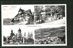 AK Brückenberg, Hotel Wang mit Schneekoppe, Kirche Wang, Wang-Baude, Ortsansicht