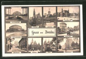AK Breslau, Rathaus, Jahrhunderthalle, Domstrasse, Hauptbahnhof