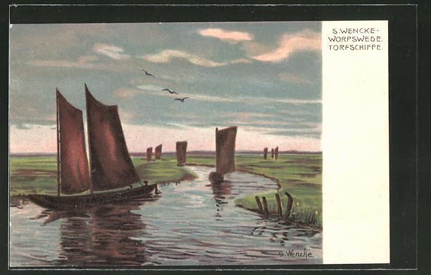 Künstler-Lithographie Sophie Wencke: Torfschiffe