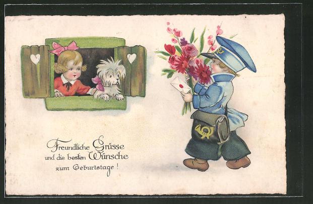 AK Grüsse und die besten Wünsche zum Geburtstage!, kleiner Briefträger