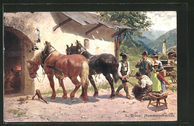 AK Hammerschmiede, Motiv aus den Alpen