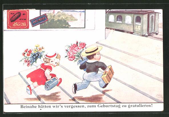 Künstler-AK John Wills: Beinahe hätten wir's vergessen...kleine Gratulanten am Bahnhof