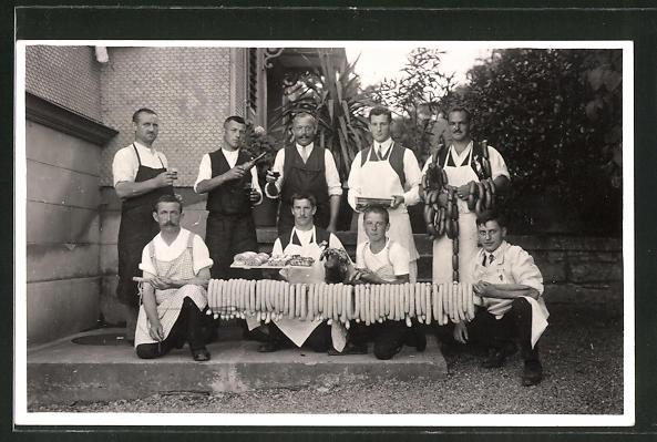 AK Musikfest 1929, Fleischer mit Wurst