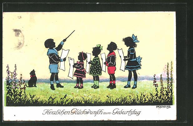 Künstler-AK Friedrich Kaskeline: Glückwunsch zum Geburtstage, Kinderchor