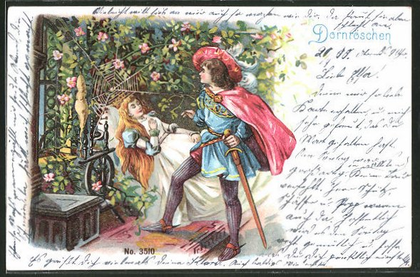 Lithographie Dornroschen Szene Aus Dem Marchen Nr 8016956