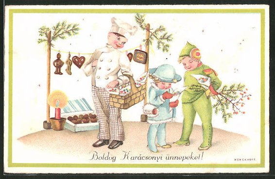 Künstler-AK Kerckhoff: Boldog Karácsonyi ünnepeket!, Konditor verkauft Süsswaren