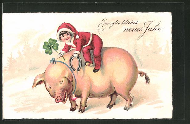 AK Neujahrsgruss mit Schwein, Hufeisen und Glücksklee