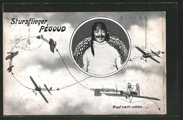 AK Sturzflieger Pégoud beim Kunstflug