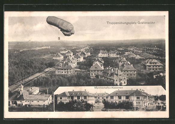 AK Grafenwöhr, Ballon über dem Truppenübungsplatz, Mannschafts-Kaserne