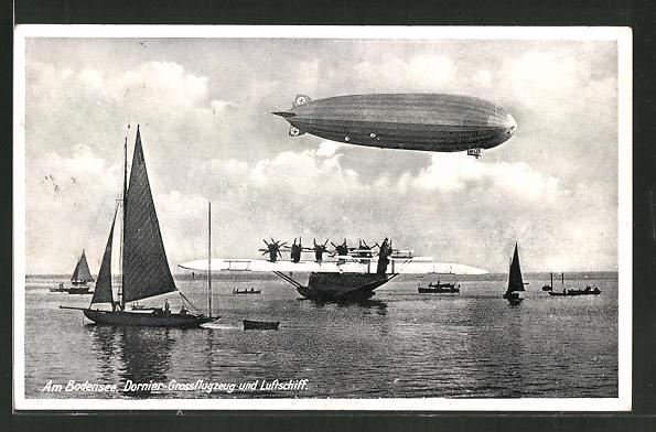 AK Dornier Grossflugzeug auf dem Bodensee und Zeppelin